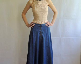 Denim midi skirt | Etsy
