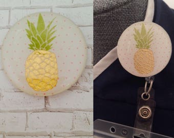 Pineapple on Pink Polka Dots ID Badge Holder/Pineapple Badge Reel Cover/Velcro Backed ID Badge Holder Cover