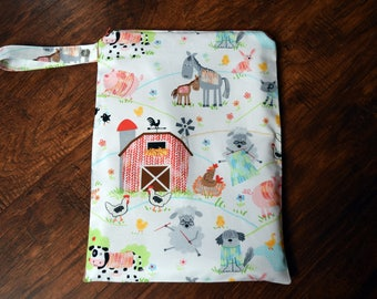 Farm Animals Wet Bag~  Swim Bag, Diaper Baby bag, Travel Bag, Wash/Dry Bag~ Reuseable Pul Bag