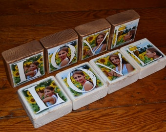 Photo Gift LOVE- set of 4 Photo Letter Blocks