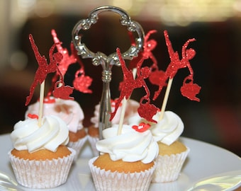 12 Teacup and Tutus Cupcake Toppers