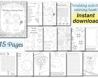 Wedding Kids Coloring Activity Book Reception PDF Printable Instant