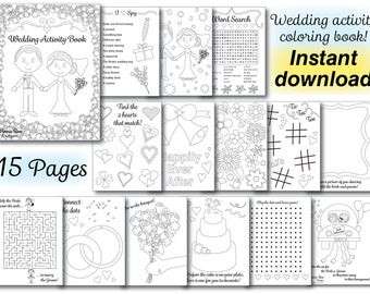 wedding kids coloring activity book wedding coloring book reception pdf printable instant - Wedding Coloring Books