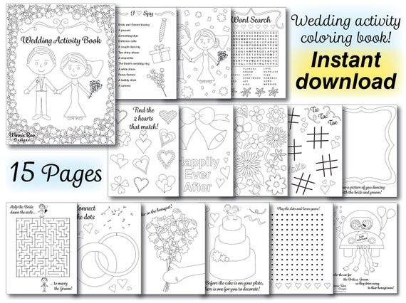Wedding kids coloring activity book wedding coloring book reception pdf printable instant download