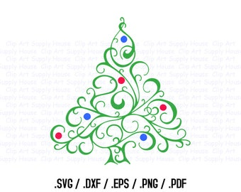 Christmas Tree Clipart, Winter Christmas Wall Art, Tree SVG File for Vinyl Cutters, Screen Printing, Silhouette, Die Cut Machines - CA373