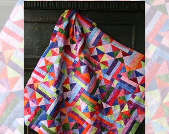 """Hang Ten Quilt Pattern by Beyond the Reef / 10"""" Squares, Layer Cake Friendly, Scrappy Half Square Triangle"""