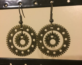 Steampunk Bronze Gear Earrings