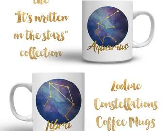 Zodiac Constellation Mug - Zodiac Constellations - Galaxy Watercolor - Astrology Art
