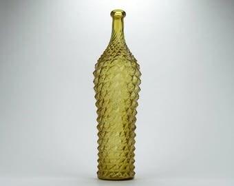 Italian / Empoli tall amber hobnail glass bottle  - Decorative amber glass genie bottle