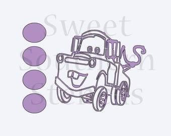 Cartoon Tow Truck PYO Cookie Stencil