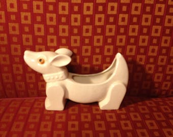 White Ceramic Dachshund Planter with Chipped Tail and Fixed Ear