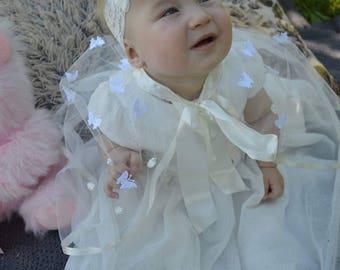 Handmade, Toddler Christening gown,Baby girl, girl gown,Christening, Baptism ivory Cape, gown, princess, flowergirl jacket,white gown