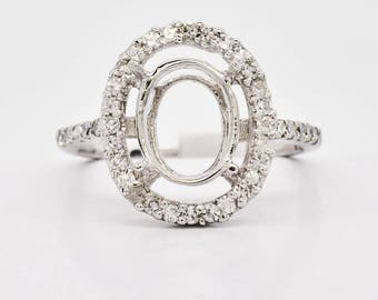 Semi mount engagement ring 14K White Gold & Diamond Ring, 2.3 grams, 0.36ctw oval shape setting unique statement ring 1