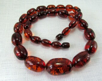 """Baltic Amber Necklace dark Cognac Ruby 18.5"""" Hand carved Olive Butterscotch Beads 33,3 gr Handmade Natural Amber Jewelry"""