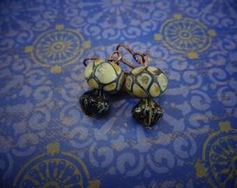 Lampwork Glass Earrings, Handblown Snakeskin Glass, Lampwork Bead Earrings, Lampwork Earrings