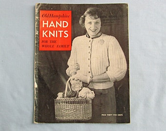 Knitting Pattern Book, 'Old Hampshire Hand Knits for Family', 1940s