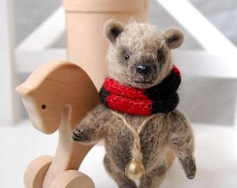 """Little bear teddy, Oliver, 4,7"""",10 cm, miniature teddy bear, mohair, stuffed animal , collectible bear, small bear toy, brown bear, handmade"""