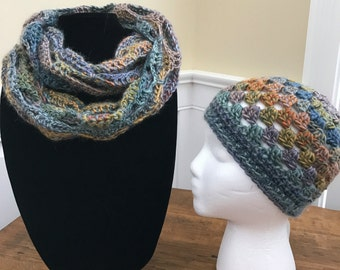 Handmade crocheted multcolored infinity scarf and hat set