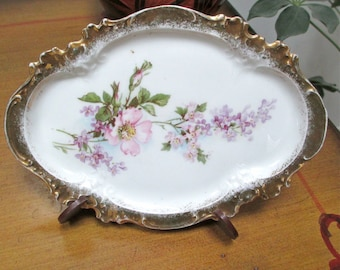 Vintage Small Occasional Dish  Hand Painted Pink Purple Green Flowers Gold Border  Prov Saxe E S Germany  Early 20th Century Collectible