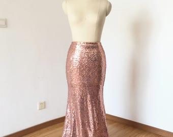 Mermaid Rose Gold Sequin Long Skirt