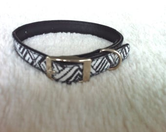 Small Black and White Dog Collar/Small Dog Collar/Upcycled Dog Collar/Black and White Dog Collar/Geometric Dog Collar/Small White Collar