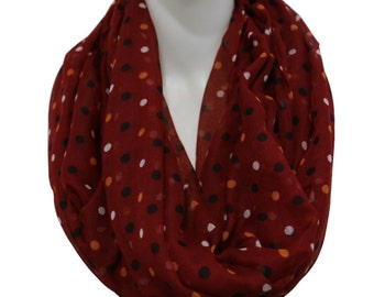 Red Polka Dot Scarf, loop Scarf, Womens Scarf, Fashion Scarf, Christmas Gift, For Her, For Women, For Mom