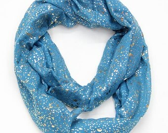 Shiny Bronzing Gold Dot Infinity Hijab Scarfs, loop Scarf, Womens Scarf, Fashion Scarf, Christmas Gift, For Her, For Women, For Mom