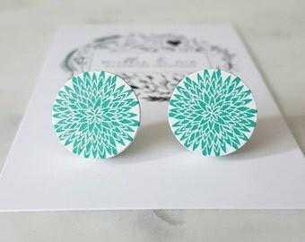 White and aqua flower wooden earrings