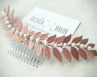 Rose Gold Laurel Leaf Comb Rose Gold Laurel Comb Bridal Hair Comb Pearl Hair Comb Pearl Headpiece Grecian Wedding Rose Gold Hair Piece
