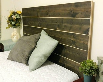 Dark Walnut Rustic Wood Headboard Twin-King Choose from 6
