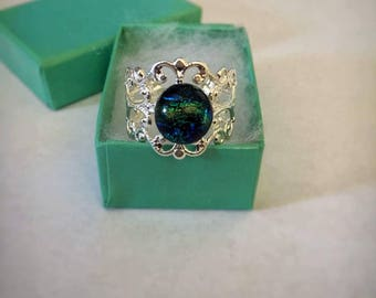 Blue and Green Glass Dichroic Ring