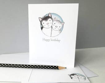 Cat birthday card, Happy birthday, cat and kitten, black and white cat, tabby cat
