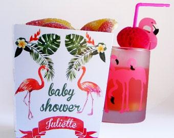 Flamingo POPCORN BOXES. Tropical Baby shower.Set of 6