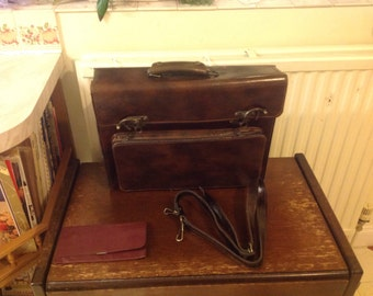 All-leather vintage handmade briefcase in brown made in England