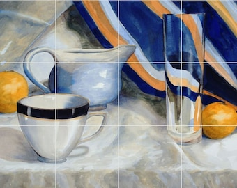 18 x 24 Ceramic Tile Mural Backsplash Tea Time Still Life