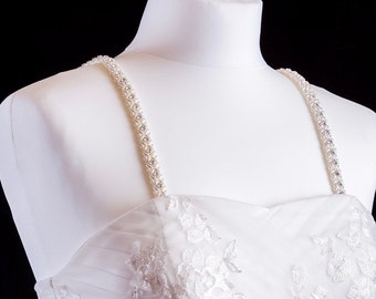 Pearl And Diamante Attachable Bridal Straps - Made To Measure - PAIGE