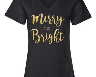 Christmas Tshirt // Merry and Bright short Sleeve Tshirt in Gold/Silver/Red Foil--OR-- White/Silver/Red Glitter