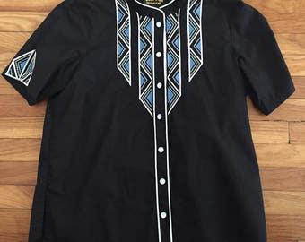 Vintage Bob Mackie blouse. Sequin blouse. Western shirt. Western blouse. Medium. Black blouse.