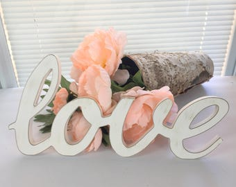 Love, Love Sign, Wooden Love Cutout, Wall Decor, Tabletop, Distressed