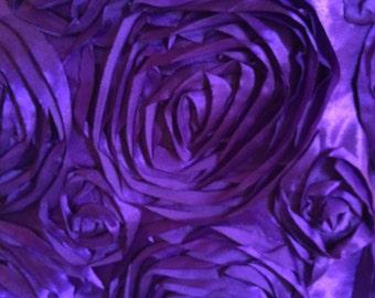 Purple Satin Rosette Fabric