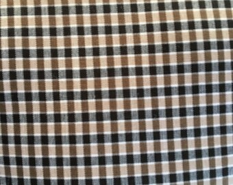Tan/Navy Plaid Fabric