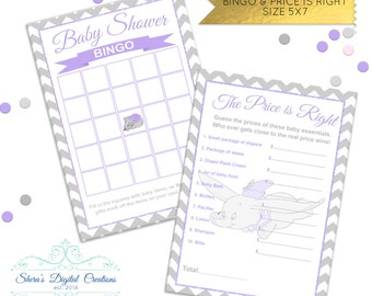 Sweet Dumbo Baby Shower Games - 7 Baby Shower Games - Color Customizable  ** PDF FILES **
