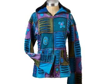 Yes Patchwork Zip Hoody, Sweater, Jacket, Coat, Fleece Lined