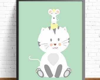 animal print, mouse, cat, cheese, wall art print, wall art decor, nursery, kids art room, kids art decor, baby shower , baby print,baby room