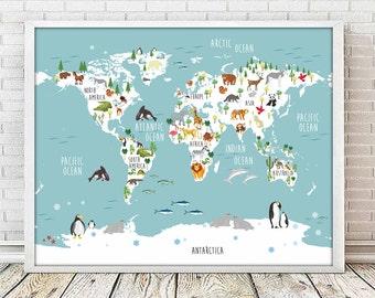 world map nursery, nursery animal, nursery print, nursery decor, mapamundi, nursery map, nursery mapamundi, animal print, map prints