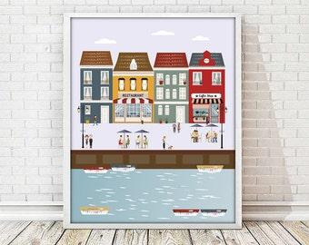 city print, houses print, nursery decor, wall art print, poster city print, colourful city, living room art, colourful print, digital print