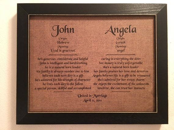 Items Similar To Wedding Gift Framed Burlap Print First
