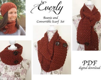 Everly Beanie and Convertible Scarf Crochet Pattern SET / Toque and Scarf Crochet Pattern SET / Beanie and Cowl Crochet Pattern Set