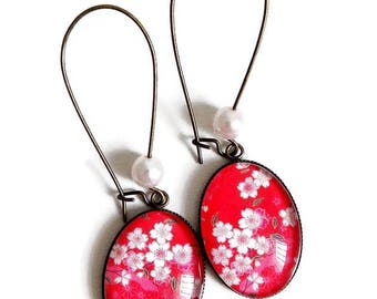 Earrings * paper * washi flowers cherry red pink Japan glass cabochon