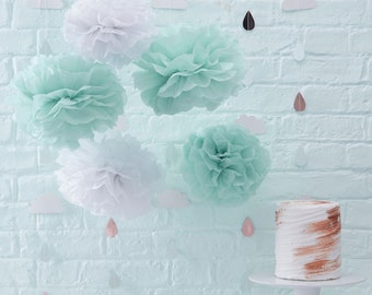 Pom Poms | Baby Shower Decorations | Mint Baby Shower | Paper Pom Poms | Party Decorations | Mint Pom Poms | Baby Shower | 5 per Pack